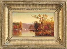 Autumn landscape with lake (Hudson River School)