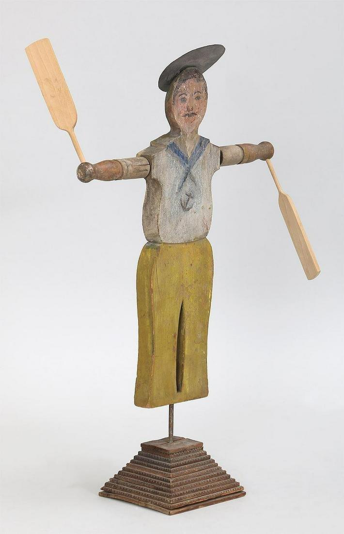 Small Folk Art polychromed carved wood whirligig