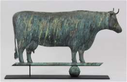 Full bodied copper cow weathervane