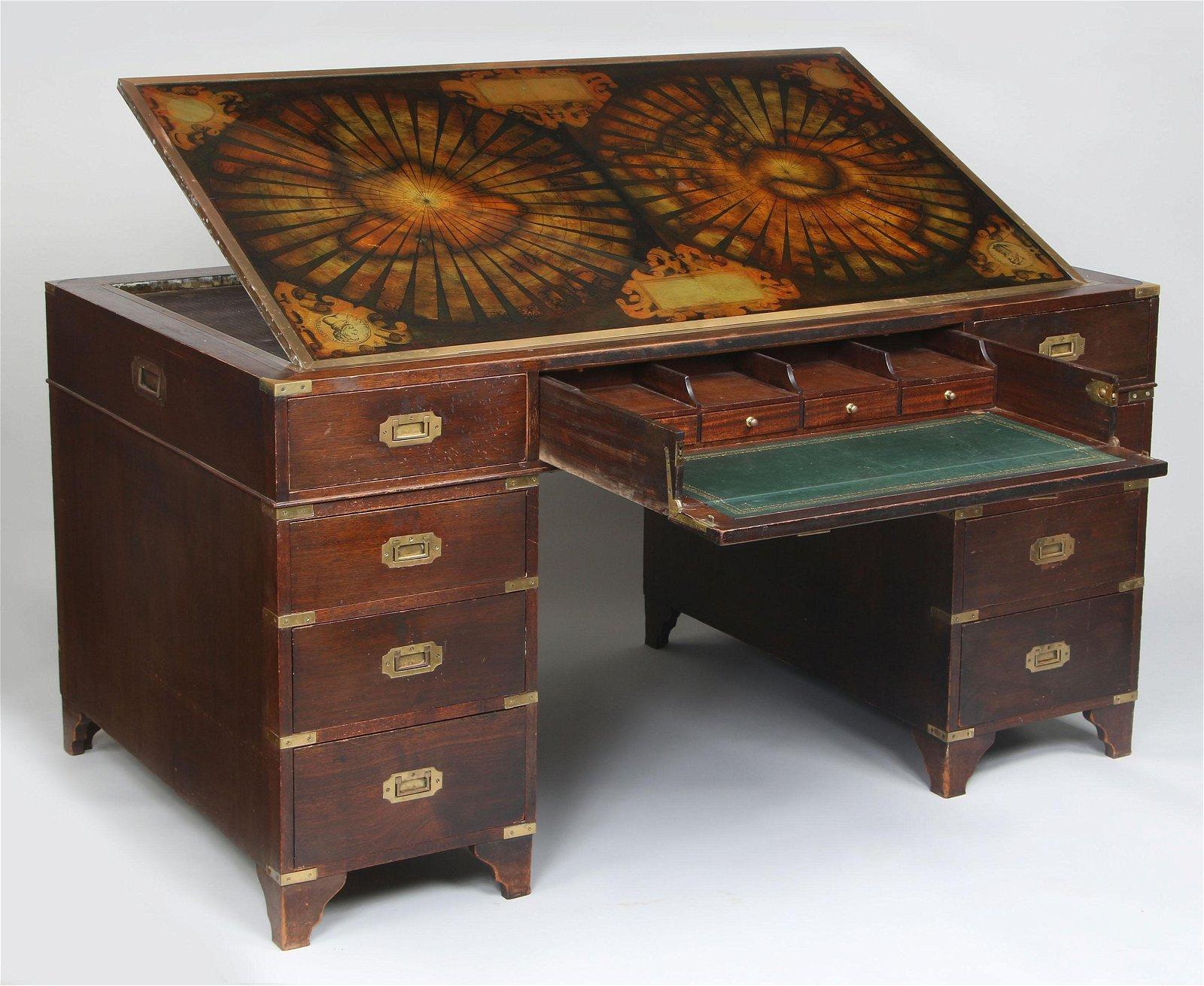 Mahogany campaign style drafting desk