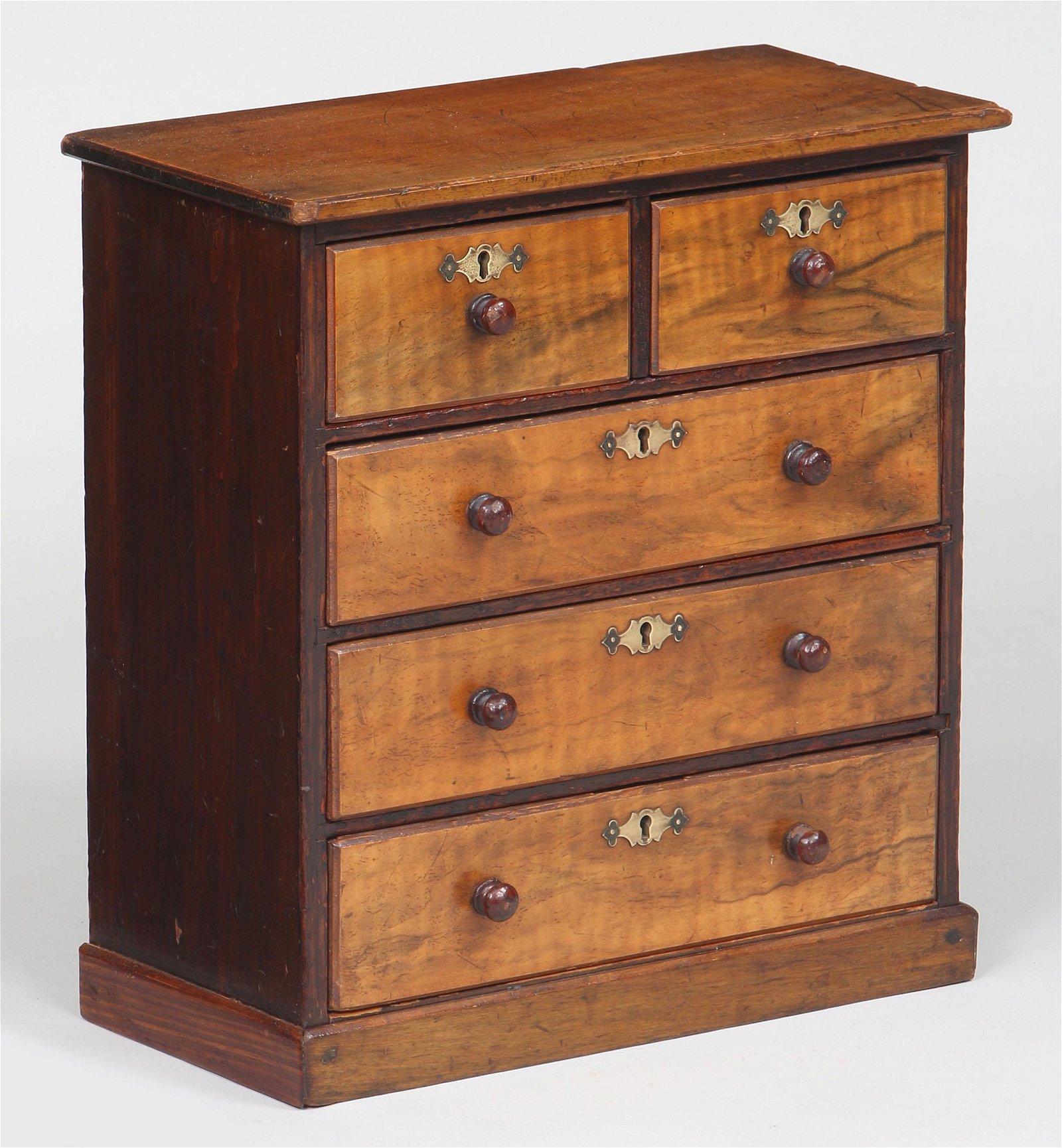 19th century miniature walnut chest