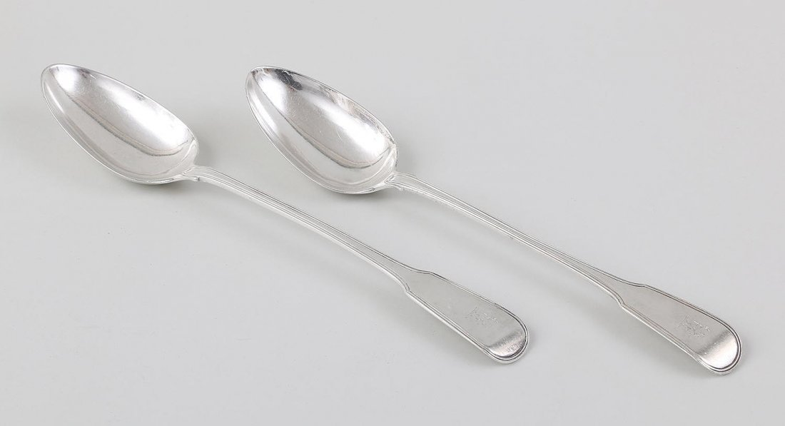 Assembled pair of 19C English sterling stuffing spoons