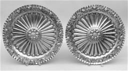 Pair 18th century English sterling sideboard chargers
