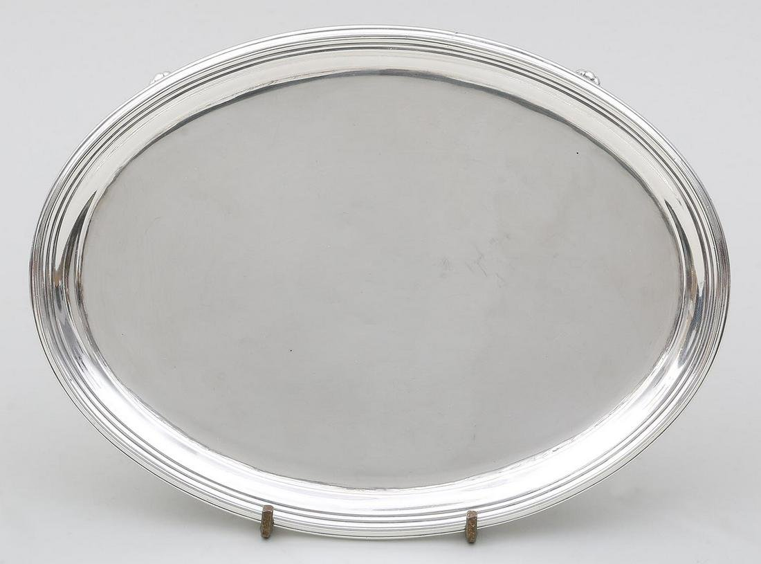 19th century English sterling silver footed tray