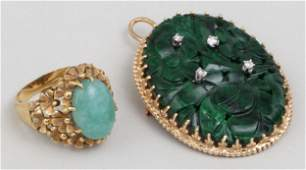 Group of (2) gold and jade jewelry