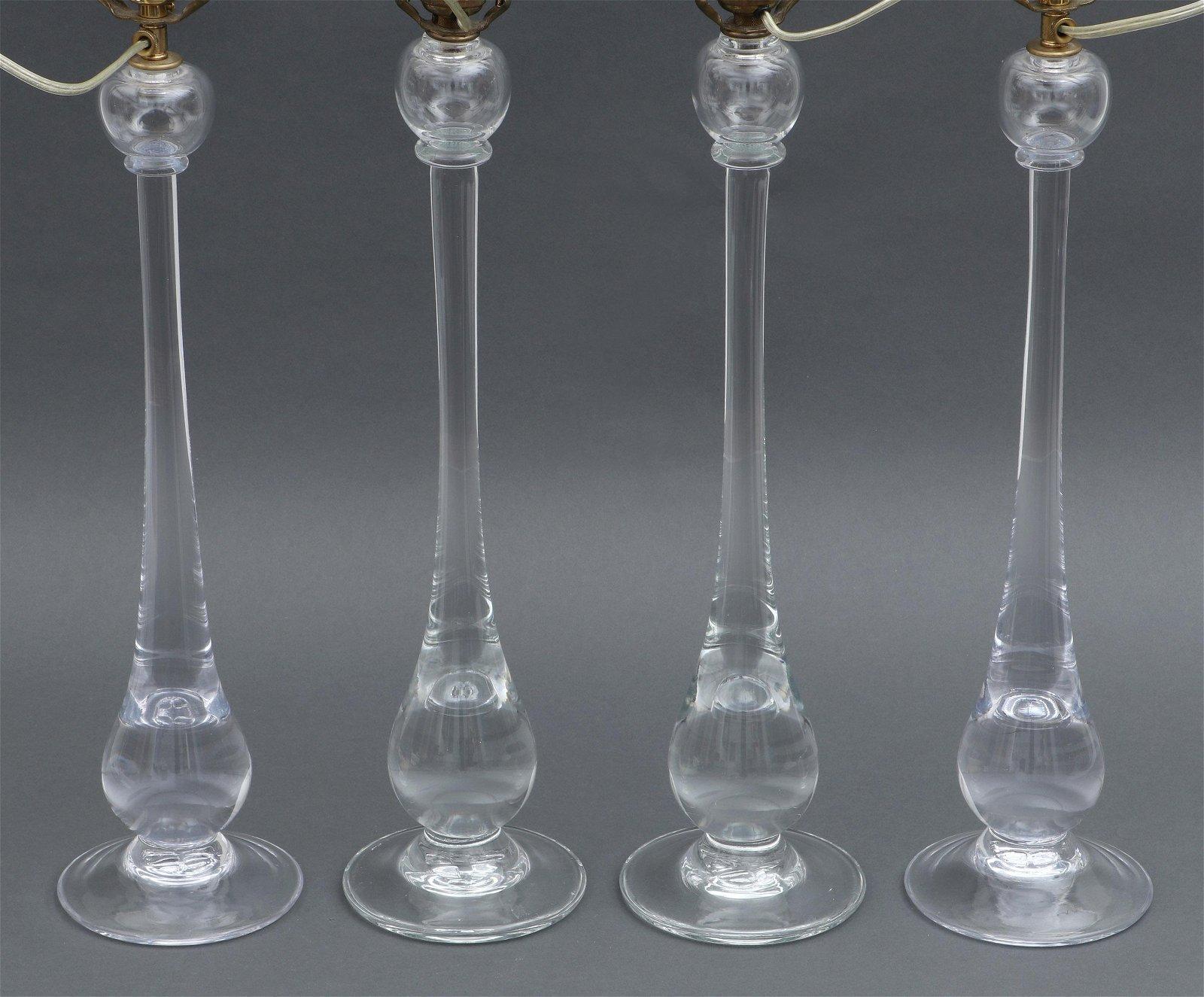Set of (4) Simon Pearce blown glass lamps