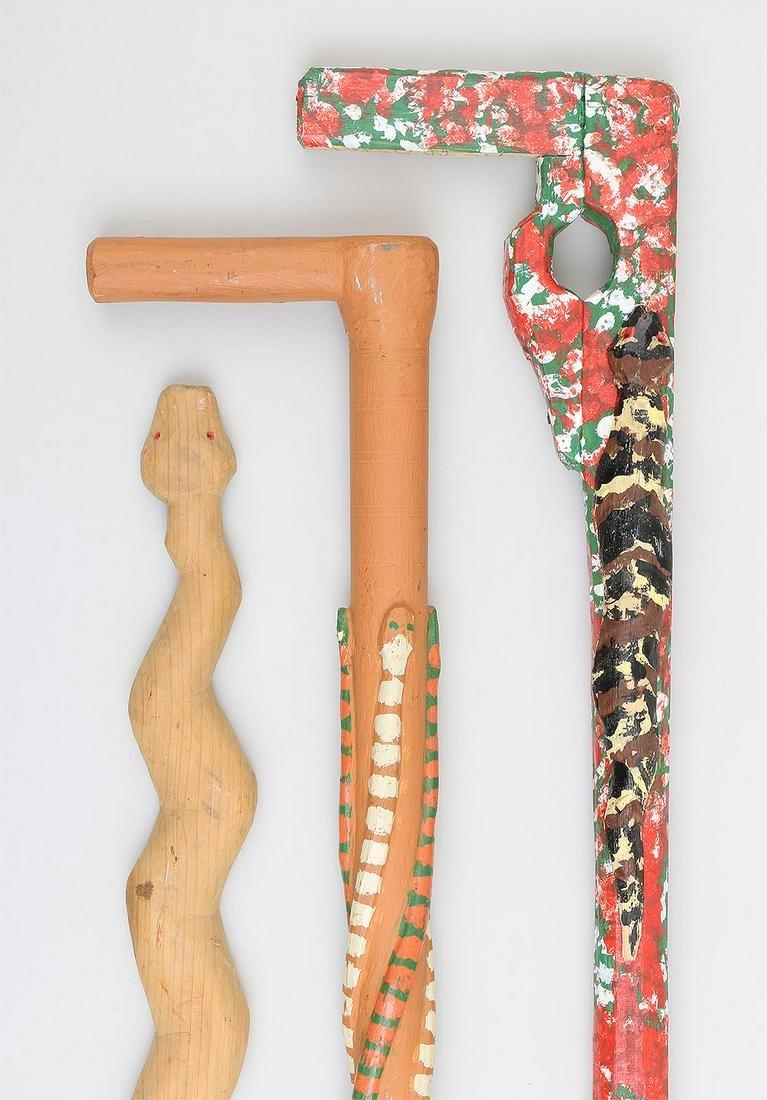 Group of (3) carved wood Folk Art canes