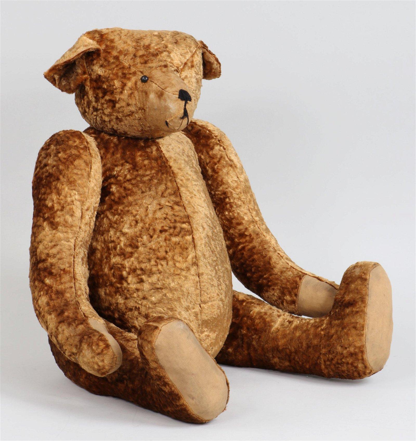 Large early 20th century mohair fur teddy bear