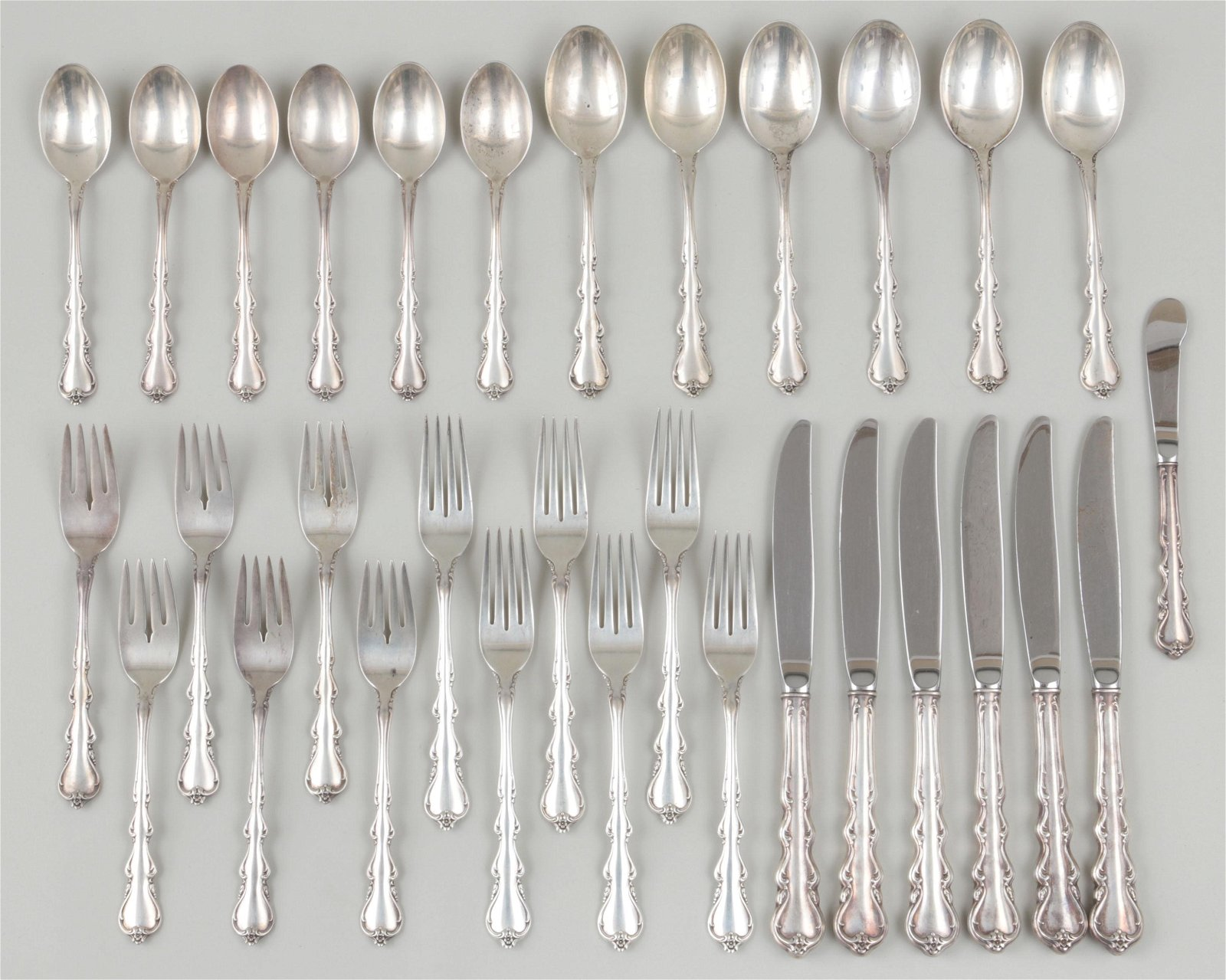 Sterling silver flatware service for six
