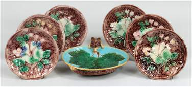 Group of (7) Majolica porcelain plates