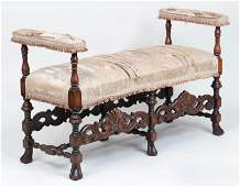 Baroque style walnut bench