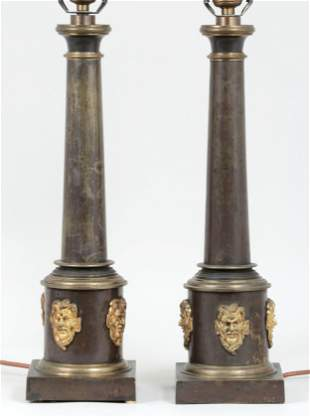 Pair of Empire style column lamps