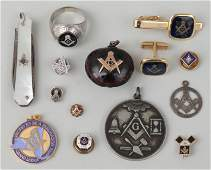 Group of 14 Free Mason accessories