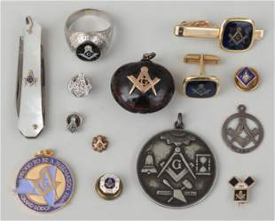 Group of (14) Free Mason accessories