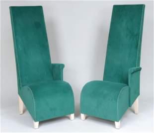Philippe Starck chairs in green velvet