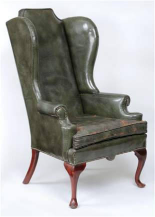 Leather wing chair in green