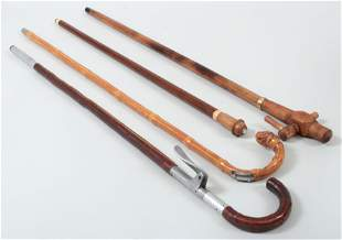 Group of (4) wood gadget canes