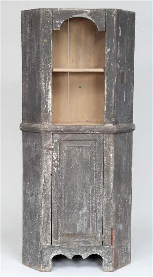 Small painted corner cupboard