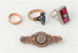 Group of (4) early 20th century gold jewelry
