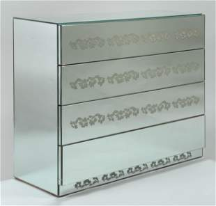 Contemporary mirrored three-drawer chest