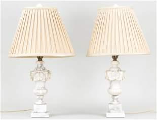 Pair of alabaster urn-form lamps