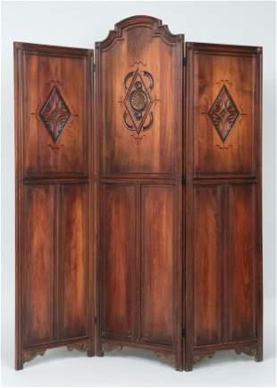 Arts and Crafts walnut three-panel screen