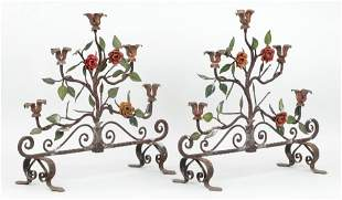 Pair polychrome painted wrought iron candelabras