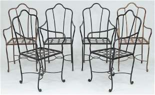 Set of (6) wrought iron patio armchairs