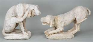 Group of (2) cast stone life-size hounds