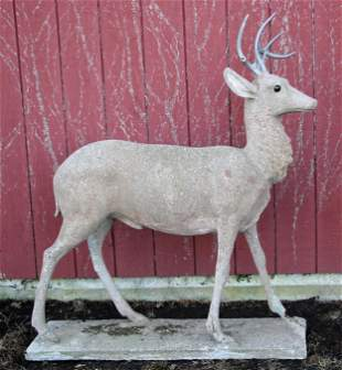 Life-size cast stone stag