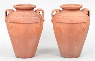 Pair of large terra cotta olive jars