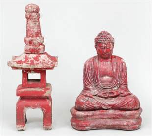 Cast stone and paint-decorated garden statues