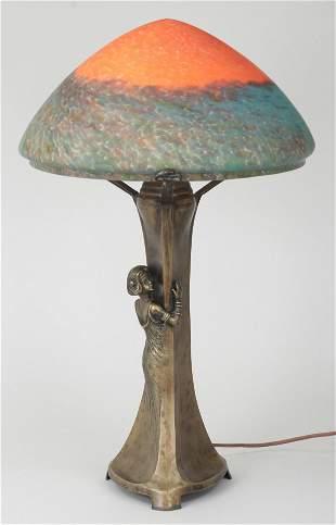 Art Nouveau bronze figural lamp