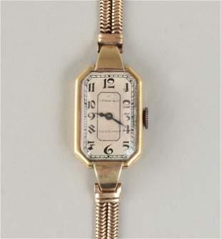 18k gold Tiffany & Co. rectangular watch