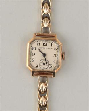 18k gold Tiffany & Co. square watch