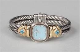 David Yurman sterling silver and 14k gold watch