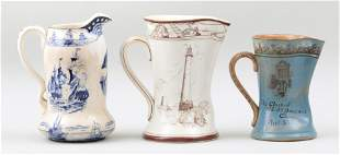 Group of (3) early 20th century ceramic pitchers