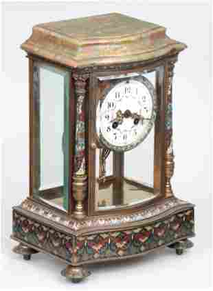 French bronze cloisonne clock