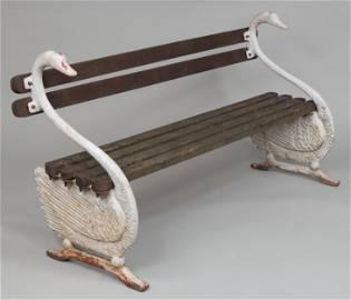 Cast iron swan garden bench