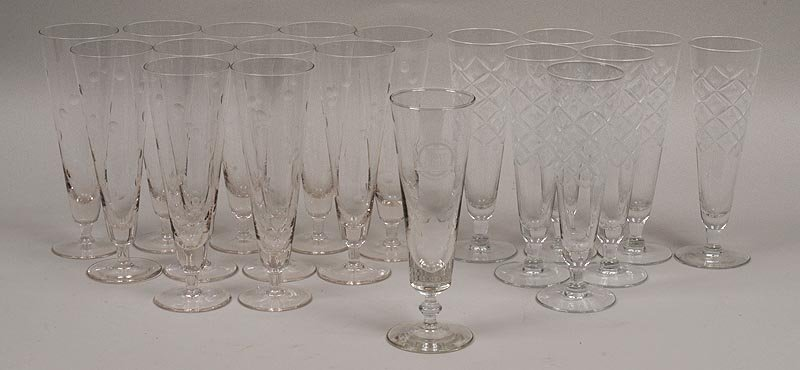 Lot of (18) glass flutes