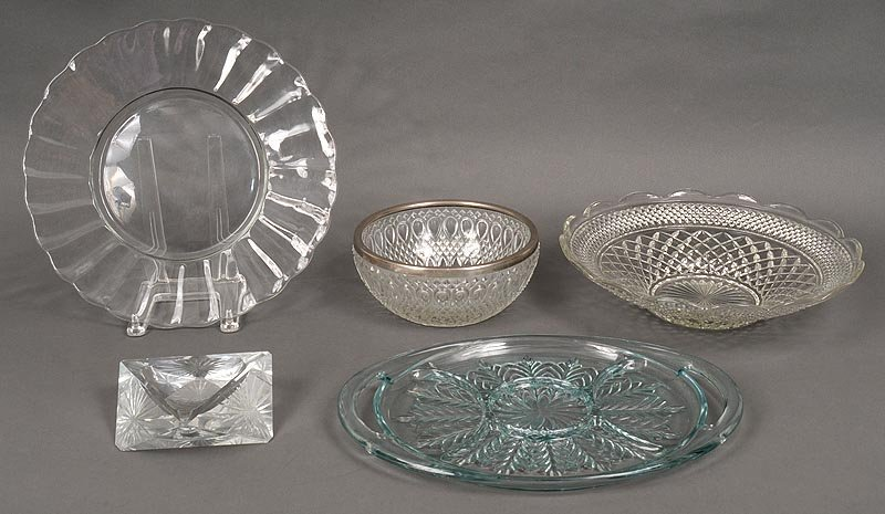 Group of (5) glass items
