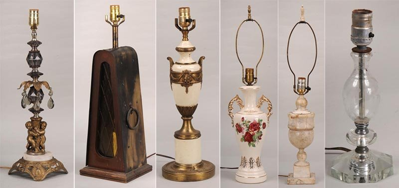 Collection of (6) lamp bases