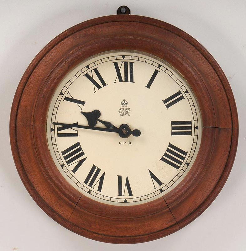 English round wood wall clock