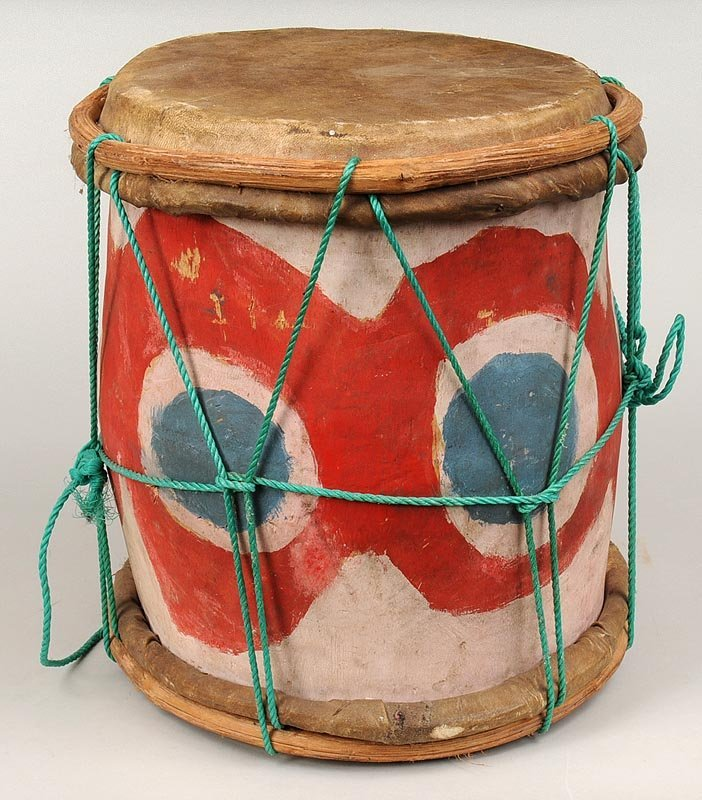 20th century tribal wood and leather drum