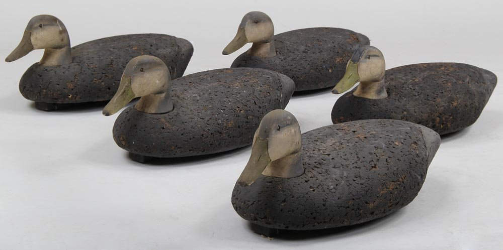 Group of (5) cork Black Ducks possibly L.L. Bean all in