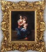 KPM mother and child painted porcelain plaque,