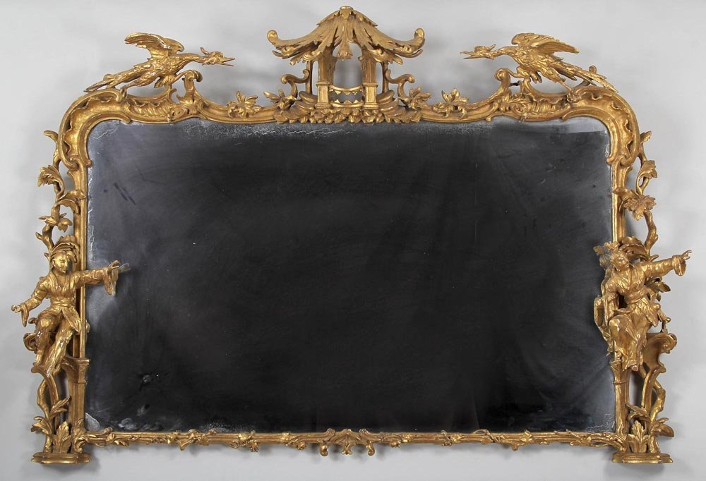 Large Georgian gilt carved mirror with Asian figures,