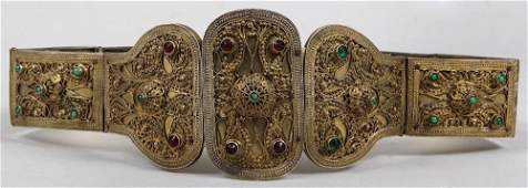 19th century Russian gilt silver belt with red and