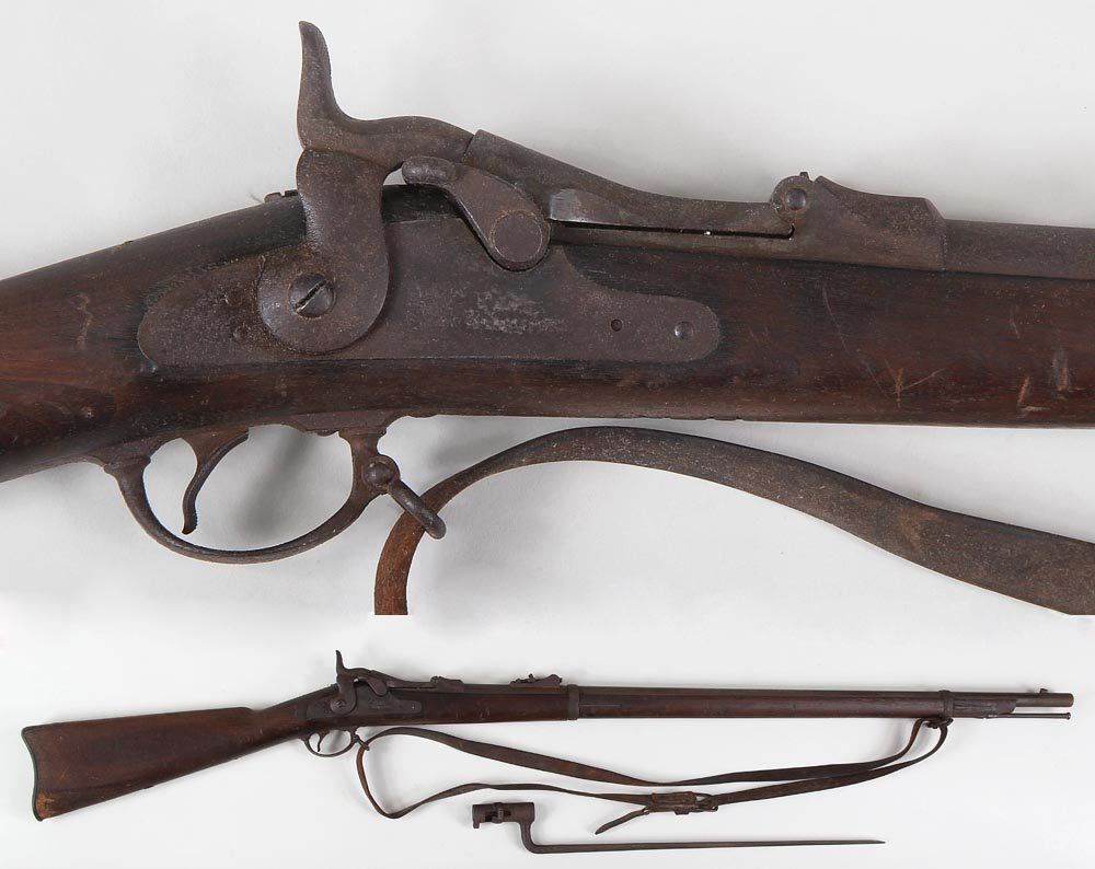 Springfield 1878 Trapdoor rifle in 45-70 with bayonet.