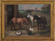 EDGAR HUNT (British, 1876-1953), farmyard scene with